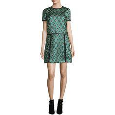 Burberry Patchwork Check Jacquard Dress ($2,995) ❤ liked on Polyvore featuring dresses, deep green, geometric dress, metallic jacquard dress, short sleeve a line dress, metallic green dress and metallic dress