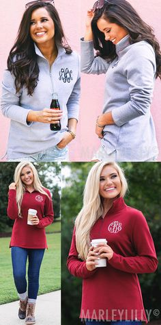 The Monogrammed Pullover Sweatshirt from Marleylilly is an easy casual look that keeps you cozy through the changing seasons. With a high-low hem and tunic length, this pullover has a feminine cut that flatters with a bit of stretch for all-day comfort.