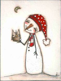 'The Moon, The Owl, and The Snowman' by Diane Duda Pinned by www.myowlbarn.com