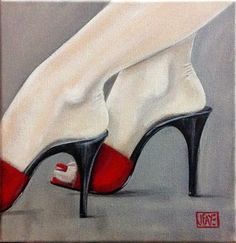 Contemporary paintings by artist Jacqui Faye specializing in figurative works in acrylics on canvas. Best known for her Red Shoe Dailies and Red Shoe art series. Designer High Heels, Designer Shoes, Buy Shoes, Dress Shoes, Art Painting Gallery, Art Gallery, Walk In My Shoes, Shoe Art, Painted Shoes