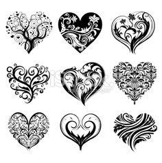 Coeur, Tatouage, Style gothique, Design, Amour Illustration vectorielle libre de droits