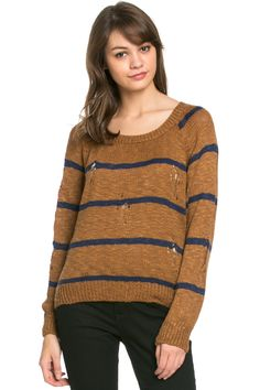Round Neck Striped Sweaters Mocha