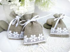 Wedding favor bags - Set of 10- Natural Rustic Linen Wedding Favor Bag or Candy Buffet Bag or Gift Bag. $17.00, via Etsy.