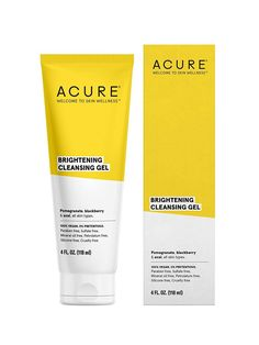 The Acure Brightening Facial Scrub is a daily exfoliator that's made with all non-toxic ingredients. French green clay draws out impurities while the Vitamin C in lemon peel brighten the skin's complexion. Cleanser For Oily Skin, Facial Cleanser, Moisturizer, Anti Aging, Acure Organics, Natural Exfoliant, Facial Scrubs, Facial Masks, Cleansing Gel