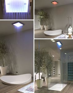 Colorful Ceiling Shower Concept, Seeks Extra-Long Curtain