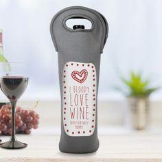 I Bloody Love Bottle Personalised Black Bottle Bag Groom Looks, Bottle Bag, Garden Gifts, Personalized Wedding Gifts, Bride Gifts, Mother Of The Bride, Bottle Opener, Home And Garden, Black