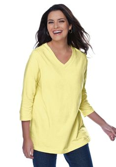 Woman Within Women's Plus Size V-Neck 3/4 Sleeve Tee ($14.58) - Overall fit is good. - I ordered the 1x size (which usually fits well) and find I could easily have used a smaller size; but the color is wonderful. - I found much nicer ones on the Eddie Bauer website, and if you wait for a sale they don't cost much more. http://www.amazon.com/exec/obidos/ASIN/B004I784E0/electronicfro-20/ASIN/B004I784E0