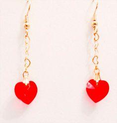 1030 - Heart earrings, heart jewelry, crystal heart, red crystal heart, dangle earrings, crystal earrings, Swarovski crystal,Swarovski heart by EarringsBraceletsEtc on Etsy