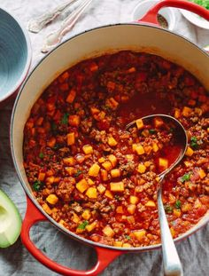 Chili Canning Recipe With Beans. No Bean Chili Recipe Taste Of Home. Easy No Bean Chili Recipe SimplyRecipes Com. Whole30 Soup Recipes, Chili Recipes, Cooking Recipes, Healthy Recipes, Cooking Chili, Paleo Soup, Cooking Games, Burger Recipes, Healthy Soup