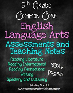 WOW!!! 400+ pages of 5th Grade English Language Arts assessments and teaching notes! The teaching notes break down the standards so they are much easier to understand what students need to know! Not to mention, every single standard is assessed! Even the hard to understand speaking and listening standards!! Perfect for tracking data$!