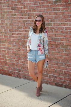 Short Story // Zara floral blazer, Forever21 distressed shorts, ankle zip booties. #summerlooks #casualstyle