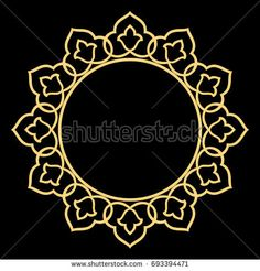 Golden flower wreath. Decorative line art frames for design template. Elegant  element for design in Eastern style, place for text. Lace illustration for invitations and greeting cards