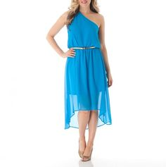 One Shoulder Belted Dress, blue Very stylish and cute love the belt