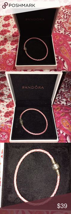 Pandora pink leather bracelet authentic Selling tons of pandora things -- this is a pink leather bracelet. Preowned condition. Let me know if you're looking for any charms I may have them. Horse, cow, letter A, Christmas tree, luggage, graduation, heart, horse shoe, sheep, elephant, flowers, more hearts, various charm stoppers, butterflies, chicken, sleigh, books, daughter heart, more flowers, more hearts, airplane! Let me know if you'd like to see pictures of any of these. Also selling 3…