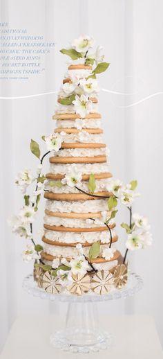 """Kransekake, or """"Ring Cake,"""" Traditional Scandinavian wedding cake. jj"""