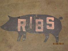 Vintage Butcher Shop Ribs Pig Meat Locker Trade Sign Old Tin Original Folk Art | eBay