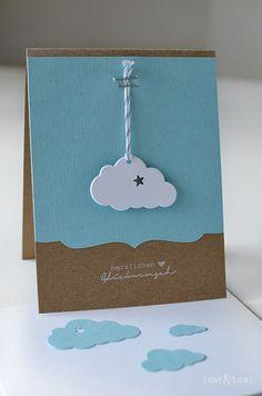 Handmade: Eine süße Wolkenkarte zur Geburt - Love & Lilies  // Karte zur Geburt