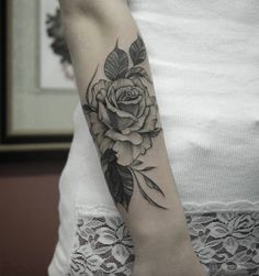 Linework rose on forearm by Marquinho André