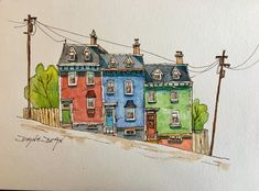 Watercolor Print of row houses from St. John's, Newfoundland's famous Jelly Bean Row house, Watercolor Print of row houses from St. John's, Newfoundland's famous Jelly Bean Row Watercolor Sketch, Watercolor Print, Watercolor Illustration, Watercolour Painting, Painting Prints, Painting & Drawing, Watercolor City, Sketch Art, Van Gogh Watercolor