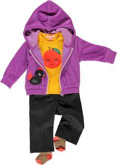 orange t-shirt + raspberry sweatcardi + black jeans trousers GIRL SS14