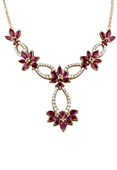 Effy Gemma Rose Gold Ruby and Diamond Necklace, A budding centerpiece for your collar. #spring    http://www.effyjewelry.com/women/gemma-rose-gold-ruby-and-diamond-necklace-5-3-tcw.html#