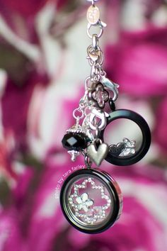 Classy Black & Bling look! medium black locket shown with our large silver base & black enamel face shop online www.mlockets.origamiowl.com