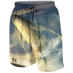 a59d8407f7 Boys Beach Swim Trunks Quick Dry - Abstract Fish Hotspring Surfing Shorts  Bathing Suit with Pocket