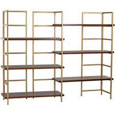 Modern elegance is perfected with the Benz Shelf. Walnut shelves are showcased by clean lines finished in lustrous gold. The complete design comes with an optional extension shelf that provide off-lev