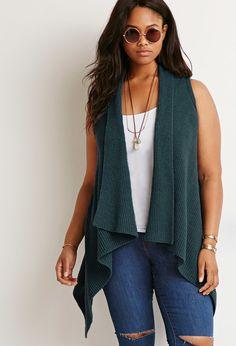 Plus Size Textured Knit Vest