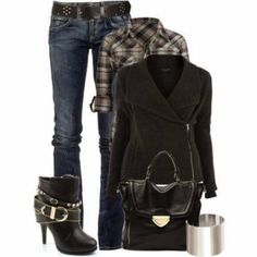 Stylish Winter Outfit With Jeans And High Heels Shoes