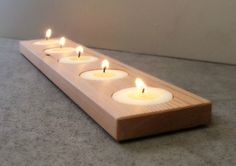 Must make myself from all the cedar I have left in the basement :) Candle Holder Modern Wood Home Accents Home door andrewsreclaimed