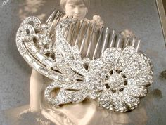 Art Nouveau 1930s Hair Comb OR Wedding Dress Sash Brooch, 1920s Antique Bridal Headpiece, Art Deco Vintage Pave Rhinestone Large Hairpiece by AmoreTreasure