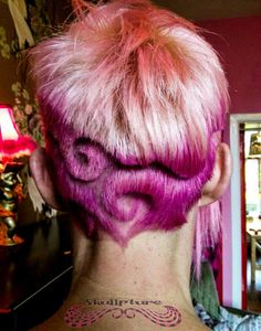 pink hair design swirls    www.facebook.com/skullpturehair
