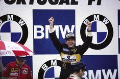 Race #winner Ayrton Senna on the podium, Portuguese Grand Prix, Estoril, Portugal, 21 April... http://monaco-addict.com