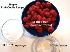 Made with fresh ingredients, a fruit coulis is the perfect fruit sauce. Along with step by step photo instructions, you'll find recipes for a raspberry, a mixed berry and a strawberry version. Pureed Food Recipes, Fruit Recipes, Desert Recipes, Healthy Recipes, Frozen Fruit, Frozen Meals, Coulis Recipe, Berry Coulis, Fruit Sauce