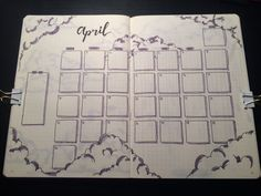 Bullet journal monthly spread, cloud theme