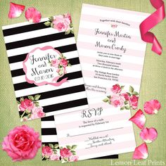 Bold modern black and white stripes pattern wedding invitation by Jamene Designs has bright pink roses that really pop. Find them here: http://lemonleafprints.com/wedding-invitation-black-stripes-and-chic-pink-roses.html