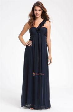 One Shoulder Chiffon Bridesmaid Dresses, One Shoulder Chiffon Dress  $139.00  in bright blue