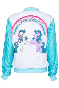 ROMWE Dual-tone my little pony Print Blue Coat.