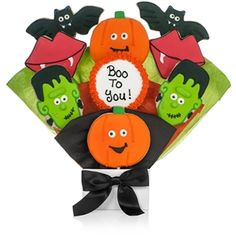 personalized this frightful halloween cookie bouquet baked and decorated by lady fortunes sold by arttowngiftscom