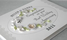 30th anniversary card, quilled, pearl wedding