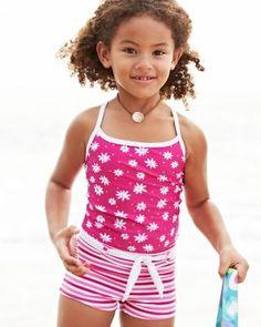 UPF 50+ Boy-Short Tankini by Snapper Rock - Girls cute swimsuit modest