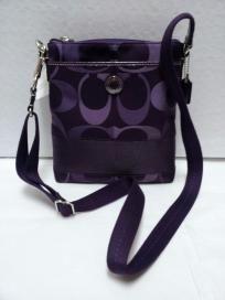FREE SHIP - NWT! COACH Signature Stripe 3 Color Purple Small Swingpack Bag F48069