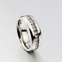 Women`s+and+Men+++Cute++Party++Work++Casual+Titanium+Steel+Band+Ring+–+USD+$+5.99