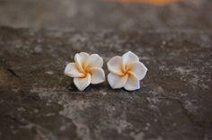 Polymer clay plumeria flower stud earrings. jwcalgary Etsy