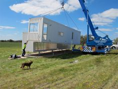 pod home getting into position - Shipping Container Homes, Modular Homes