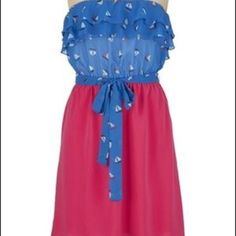 Sailboat Dress!  Perfect summer dress. Blue and pink with little sailboats on the bodice. It's strapless with a tie belt in the waist Maurices Dresses Strapless