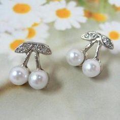 Cherry Pearl Earrings White - One Size  #50, #Accessories, #Angelove, #Earrings, #Fashion, #Httpwwwyesstylecomeninfohtmlpid1024899773, #YesStylecom