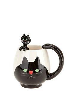 Animal Friends Mug Spoon Set ~ Join #cat lovers & Purchase Ozzi Cat Magazine http://OzziCat.com.au