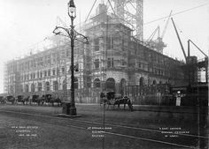 Port of Liverpool Building under Construction early Liverpool Waterfront, Liverpool Town, Liverpool History, Old Pictures, Old Photos, Horse Transport, Merchant Navy, British History, How To Memorize Things